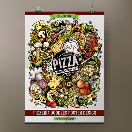 Cartoon hand drawn doodles Pizza poster template. Very detailed, with lots of objects illustration. Funny vector artwork. Corporate identity design.