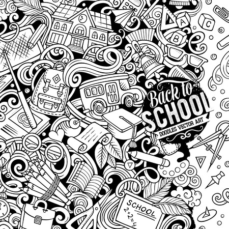 Cartoon vector doodles Back to school frame. Line art, detailed, with lots of objects background. All items are separate. Sketchy education funny border Ilustracja