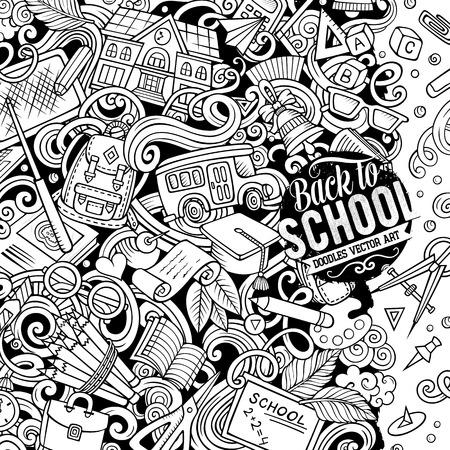 Cartoon Vektor Kritzeleien Zurück zum Schulrahmen. Strichzeichnungen, detailliert, mit vielen Objekten im Hintergrund. Alle Artikel sind separat. Skizzy Bildung lustige Grenze