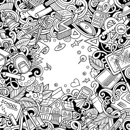 Garabatos vectoriales de dibujos animados Regreso a la escuela. Arte lineal, detallado, con muchos objetos de fondo. Todos los elementos están separados. Frontera divertida educación incompleta Ilustración de vector