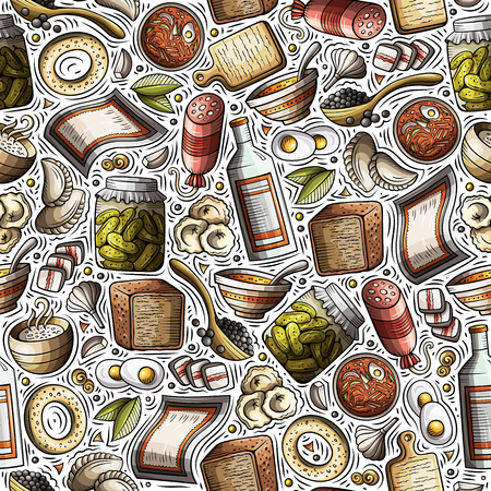 Cartoon hand-drawn Russian food seamless pattern. Lots of symbols, objects and elements. Perfect funny vector background.