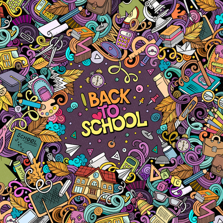 Cartoon vector doodles Back to school frame. Colorful, detailed, with lots of objects background. All objects separate. Bright colors education funny border Vettoriali