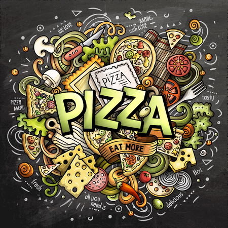 Cartoon cute doodles Pizza word. Colorful chalkboard illustration. Background with lots of separate objects. Funny vector artwork Illustration