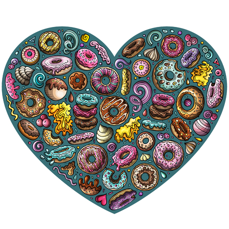Colorful vector hand drawn set of Donuts cartoon doodle objects, symbols and items. Heart form composition
