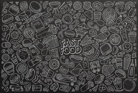 Gezeichnete Gekritzelkarikatursatz des Linienkunstvektors von Fastfood-Objekten und Symbolen