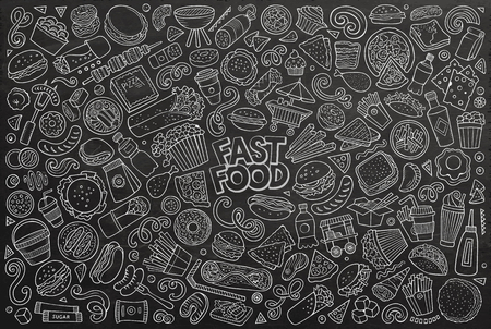 Line art vector hand drawn doodle cartoon set of fastfood objects and symbols Illustration