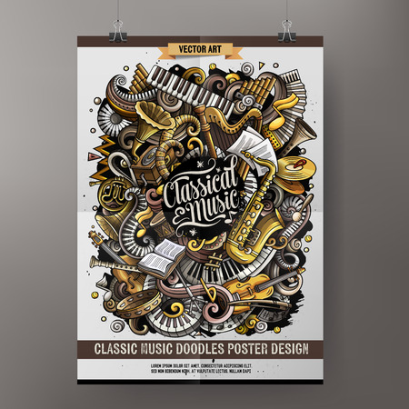 Classic music poster design template vector illustration