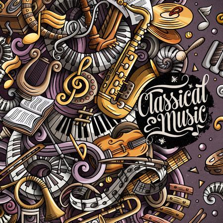 Cartoon vector doodles of Classic music poster design template