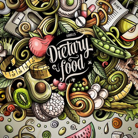 Cartoon vector doodles diet food concept illustration Stock Photo
