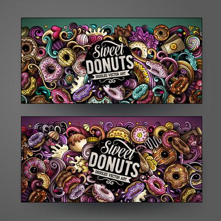Dessin animé mignon vecteur coloré dessinés à la main doodles Identité d'entreprise Donuts. Conception de 2 bannières horizontales. Ensemble de modèles. Tous les objets se séparent