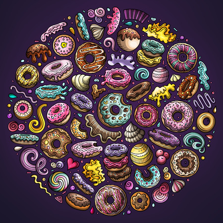 Colorful vector hand drawn set of Donuts cartoon doodle objects, symbols and items. Round composition