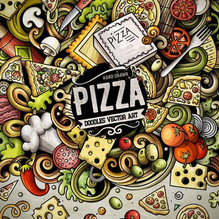 Cartoon vector doodles Pizza frame Ilustração