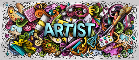 Cartoon schattige doodles Kunstenaar woord. Kleurrijke horizontale afbeelding. Achtergrond met veel afzonderlijke objecten. Grappige vectorillustraties Vector Illustratie