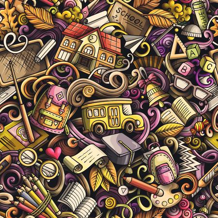 Escuela garabatos de patrones sin fisuras. Día del conocimiento fondo de arte de doodle dibujado a mano. Cartel de regreso a la escuela. Primero de septiembre. Cubierta de libro de color. Ilustración de handdrawn de vector colorido Ilustración de vector