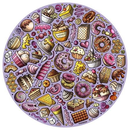 Colorful vector hand drawn set of Sweet food cartoon doodle objects, symbols and items. Round composition Stock Illustratie