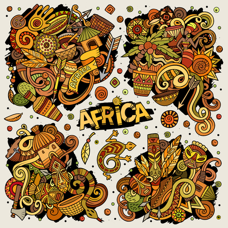 Colorful vector hand drawn doodles cartoon set of Africa combinations of objects and elements. All items are separate