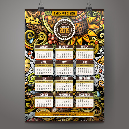Cartoon colorful hand drawn doodles Autumn 2019 year calendar template. English, Sunday start. Very detailed, with lots of objects illustration. Funny vector artwork. Çizim