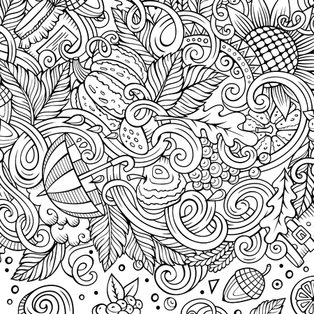 Cartoon cute doodles hand drawn Autumn frame design. Line art detailed, with lots of objects background. Funny vector illustration. Sketchy border with fall theme items