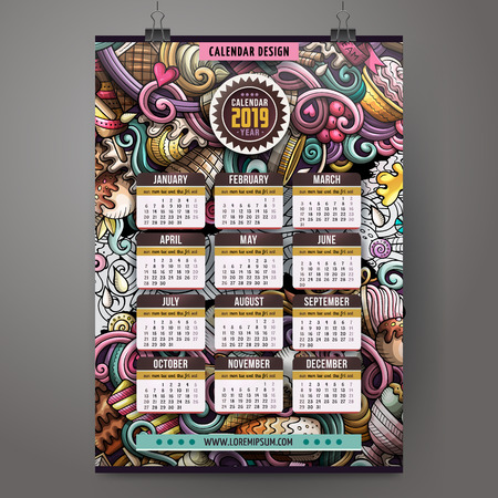 Cartoon colorful hand drawn doodles Ice-Cream 2019 year calendar template. English, Sunday start. Very detailed, with lots of objects illustration. Funny vector artwork.
