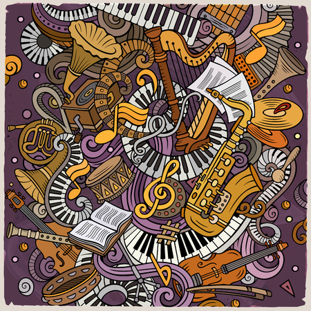 Cartoon vector doodles Classic music illustration Illustration