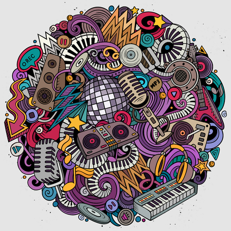 Cartoon vector doodles Disco music round illustration. Colorful, detailed, with lots of objects background. All objects separate. Bright colors musical funny picture Ilustrace