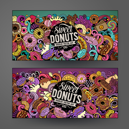 Cartoon cute colorful vector hand drawn doodles Donuts corporate identity. 2 horizontal banners design. Templates set. All objects separate