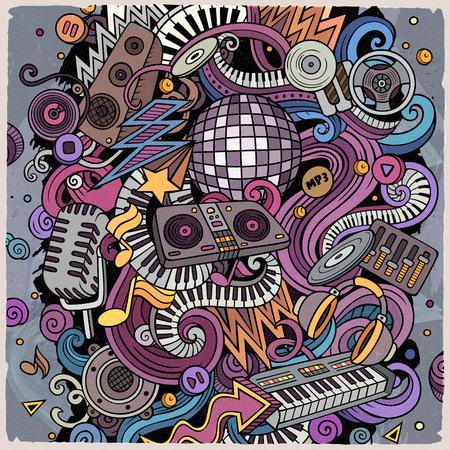 Cartoon vector doodles Disco music illustration 写真素材