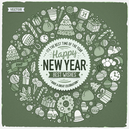 Set of New Year cartoon doodle objects round frame Stok Fotoğraf