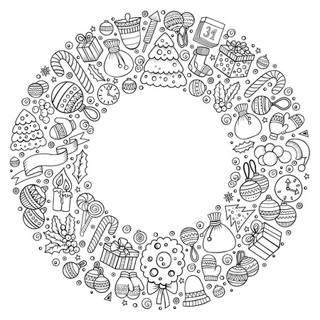 Set of New Year cartoon doodle objects round frame Stockfoto