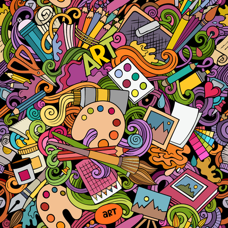 Cartoon cute doodles hand drawn Artist seamless pattern. Colorful detailed, with lots of objects background. Endless funny vector art illustration. All objects separate.