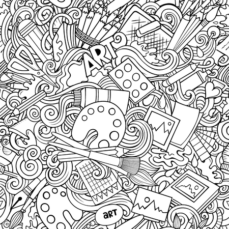 Cartoon cute doodles hand drawn Artist seamless pattern. Line art detailed, with lots of objects background. Endless funny vector art illustration. All objects separate.