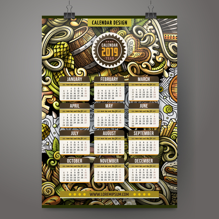 Cartoon colorful hand drawn doodles Beer fest 2019 year calendar template. English, Sunday start. Very detailed, with lots of objects illustration. Funny vector artwork.