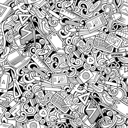 Illustration sommaire de fourniture de concepteur. Fond de griffonnages d'arts visuels. Modèle sans couture de dessin animé vecteur ligne art avec des éléments de conception dessinés à la main Vecteurs