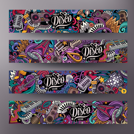 Cartoon cute colorful vector hand drawn doodles Disco music corporate identity. 4 horizontal banners design. Templates set. All objects are separate