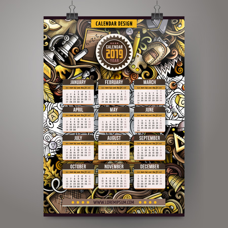 Cartoon colorful hand drawn doodles School 2019 year calendar template. English, Sunday start. Very detailed, with lots of objects illustration. Funny vector artwork. Illustration