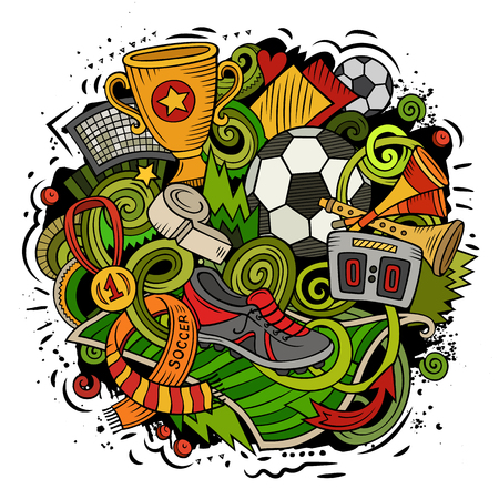Cartoon vector doodles Football illustration Stock Illustratie