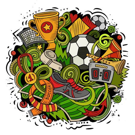 Cartoon vector doodles voetbal illustratie