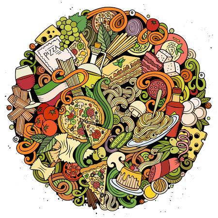 Cartoon vector doodles Italian Food round illustration. Colorful, detailed, with lots of objects background. All objects separate. Bright colors Italy cuisine funny picture Ilustração