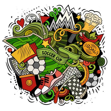 Cartoon vector doodles of Football theme illustration Illustration