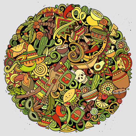 Cartoon vector doodles Latin America round illustration. Colorful, detailed, with lots of objects background. All objects separate. Bright colors latinamerican funny picture Standard-Bild - 111790037