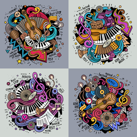 Music cartoon vector doodle illustration. Colorful detailed designs with lot of objects and symbols. 4 composition set. All elements separate Stock Illustratie