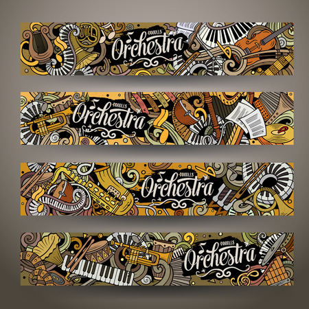 Cartoon cute colorful vector hand drawn doodles Classic music banners Archivio Fotografico - 106804534
