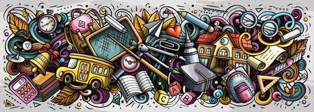 Diseño de banner de garabatos de escuela. Día del conocimiento fondo de arte de doodle dibujado a mano. Cartel de regreso a la escuela. Primero de septiembre. Cubierta de libro de color. Ilustración de handdrawn de vector colorido