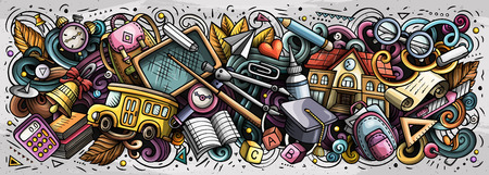 School doodles banner design. Day of knowledge hand drawn doodle art background. Back to school poster. First of September. Color book cover. Colorful vector handdrawn illustration