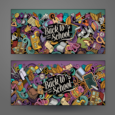 Cartoon cute colorful vector hand drawn doodles School corporate identity. 2 horizontal banners design. Templates set. All objects separate Vettoriali