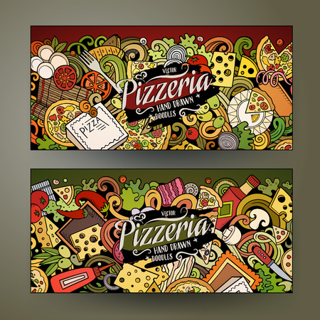 Cartoon cute colorful vector of Pizzeria banners 向量圖像