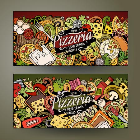 Cartoon cute colorful vector of Pizzeria banners Ilustração