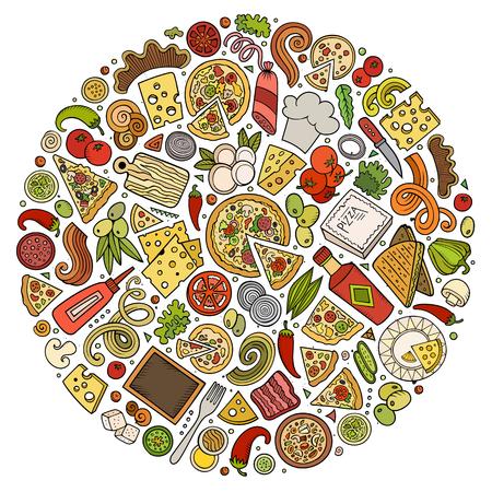 Conjunto de objetos, símbolos y elementos de doodle de dibujos animados de pizza Ilustración de vector