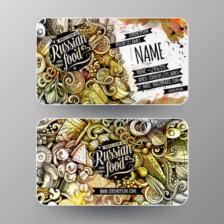 Cartoon graphics watercolor vector hand drawn doodles Russian food corporate identity. 2 id cards design. Templates set Illustration