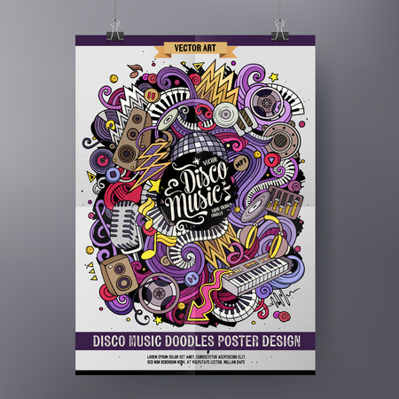Cartoon hand drawn doodles Disco music poster design
